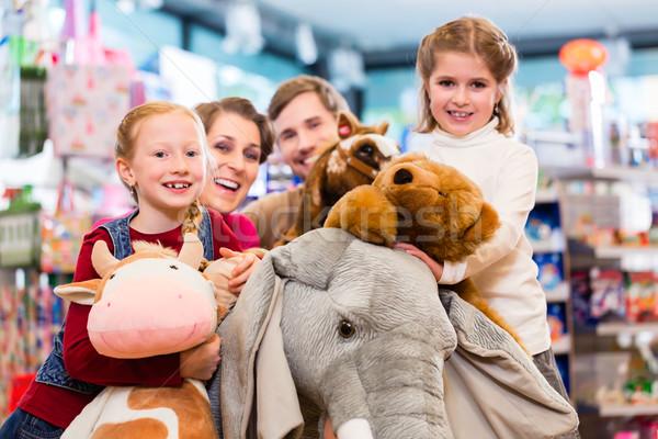 Famille bourré éléphant jouet magasin jouer Photo stock © Kzenon