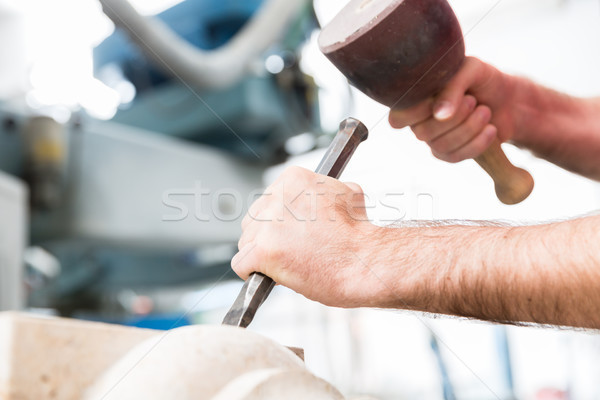 Stonemason working at marble pillar  Stock photo © Kzenon