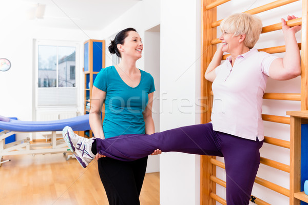Elderly patient doing mobilization exercise during rehab Stock photo © Kzenon