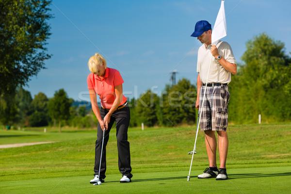 Stockfoto: Jonge · paar · spelen · golfbaan · golf · vrouw