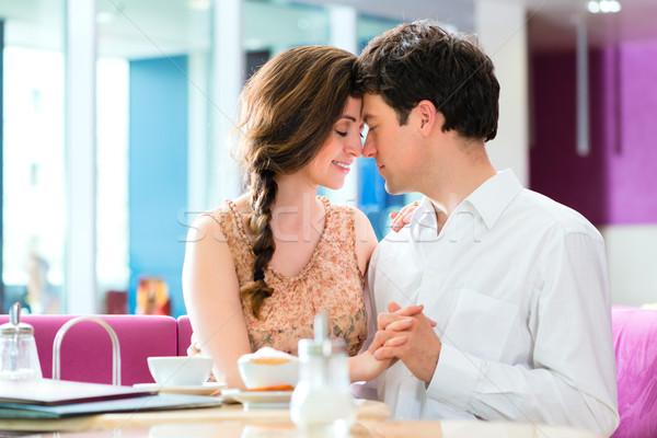 Café baiser affectueux couple Photo stock © Kzenon