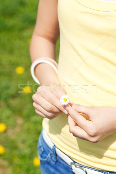 Young woman with daisy Stock photo © Kzenon