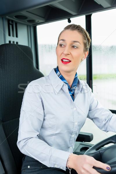Femenino autobús conductor asiento mujer trabajo Foto stock © Kzenon