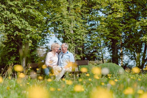 Romantikus idős pár szeretet randizás kint idilli Stock fotó © Kzenon