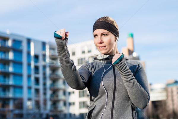 Portré fiatal nő gyakorol box testmozgás erős Stock fotó © Kzenon