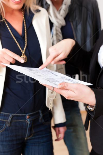 Young realtor explains lease agreement to couple Stock photo © Kzenon