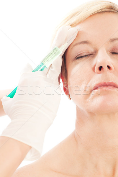 Foto stock: Botox · idade · beleza · médico · mulher · médico