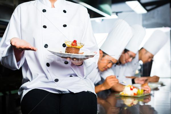 Stock fotó: ázsiai · szakács · étterem · konyha · főzés · indonéz