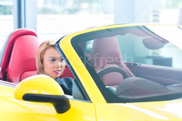ストックフォト: アジア · 女性 · テスト · 新しい · スポーツカー · ビジネス