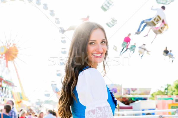 Mulher em pé carrossel menina Foto stock © Kzenon
