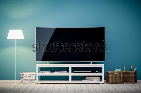 3d interior rendering of modern living room with tv and lamp  Stock photo © Kzenon