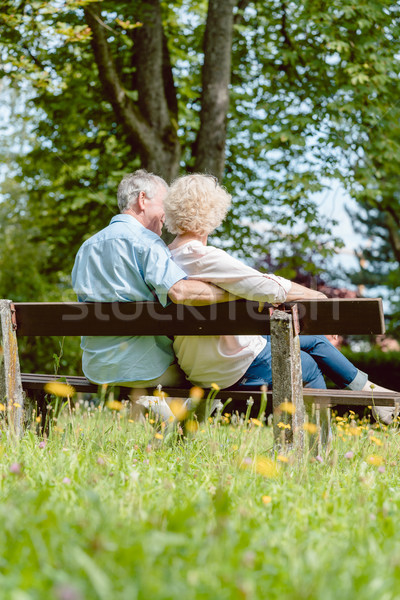 Romantic elderly couple sitting together on a bench in a tranquil day Stock photo © Kzenon