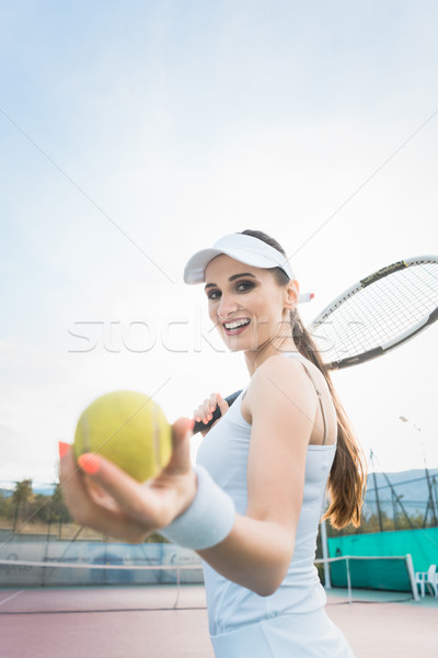 Stock photo: Woman wanting to play Tennis