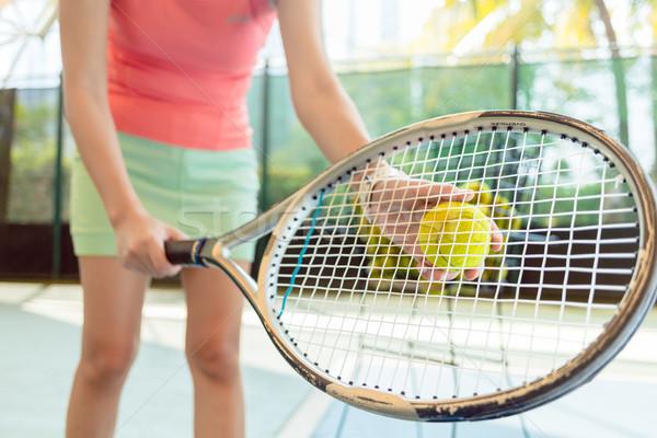 Közelkép teniszütő profi női játékos adag Stock fotó © Kzenon