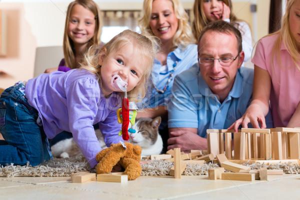 Foto stock: Família · jogar · casa · gato · piso