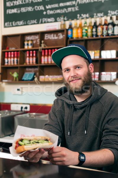 Сток-фото: продавцом · хот-дог · быстрого · питания · Бар · дружественный