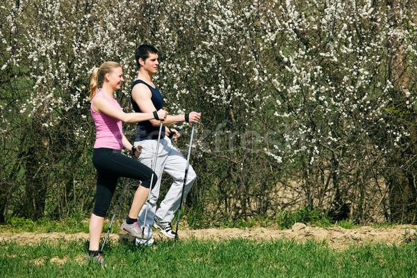 Nordic Walking in spring Stock photo © Kzenon
