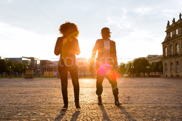 African American couple take a walk in the city Stock photo © Kzenon