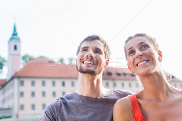Couple sightseeing at Danube Weltenburg monastery Stock photo © Kzenon