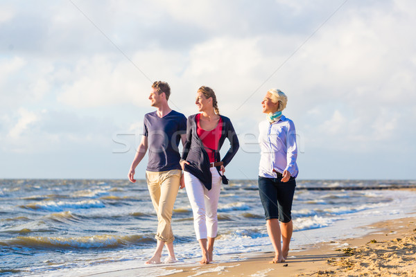Friends enjoying sunset at ocean beach Stock photo © Kzenon