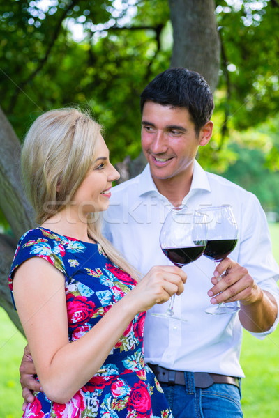 Couple having picnic wit red wine on meadow Stock photo © Kzenon