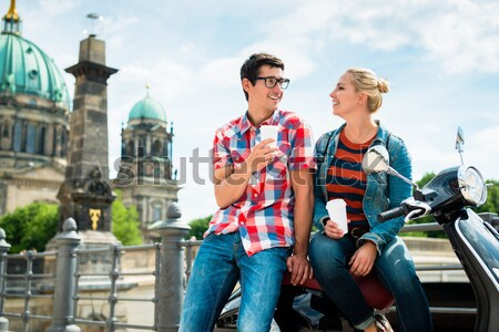 man taking a selfie during sightseeing tour with Vespa Stock photo © Kzenon