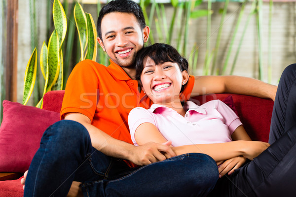 Asian couple at home Stock photo © Kzenon