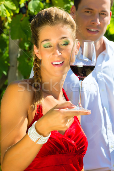 Woman and man standing at vineyard and drinking wine Stock photo © Kzenon