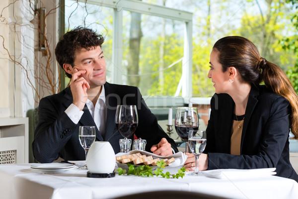 обед ресторан бизнеса Изысканные ужины женщину Сток-фото © Kzenon