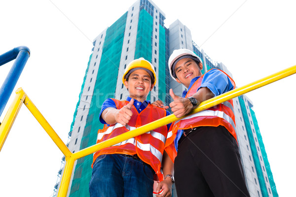 ázsiai építész felügyelő építkezés kínai épület Stock fotó © Kzenon