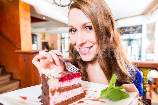 Сток-фото: женщину · еды · торт · магазин · кафе