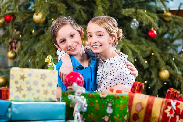 Brother and sister during handing out of presents, wishing Merry Stock photo © Kzenon