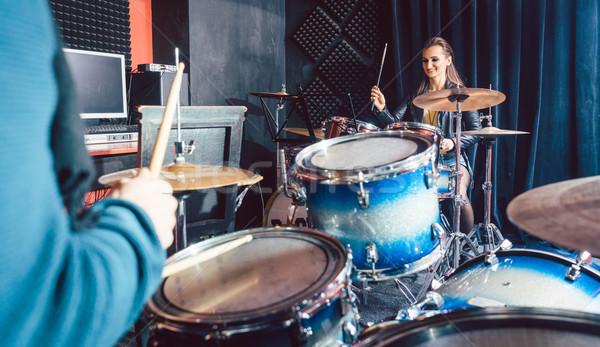 Vrouw trommel ervaring muziek leraar school Stockfoto © Kzenon