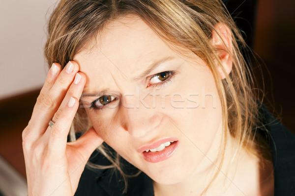 Donna mal di testa sentimento indisposto testa Foto d'archivio © Kzenon