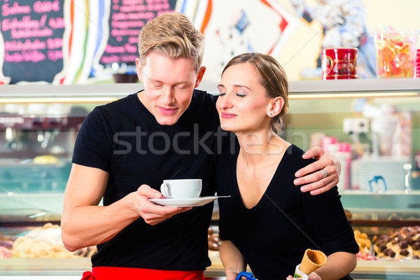 Ice cream seller and waiter working in cafe Stock photo © Kzenon