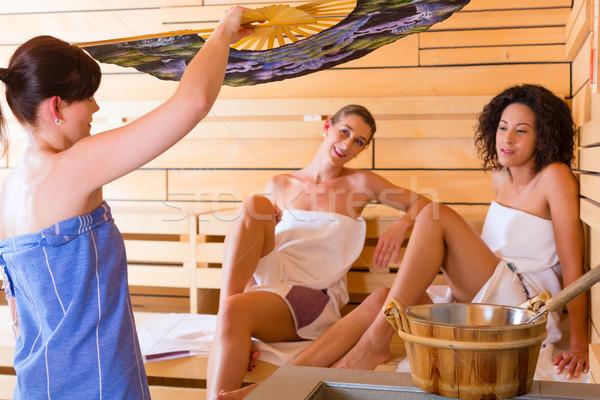 Sauna hava kadın demleme spa sıcak Stok fotoğraf © Kzenon