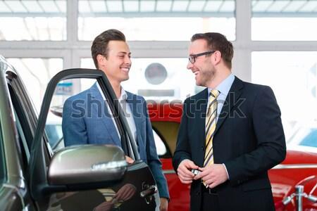 Foto stock: Asiático · casal · compra · carro · automático
