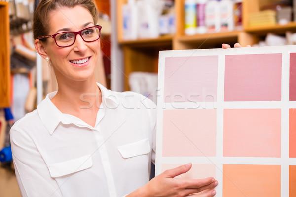 インテリアデザイナー 塗料 サンプル カード 女性 絵画 ストックフォト © Kzenon