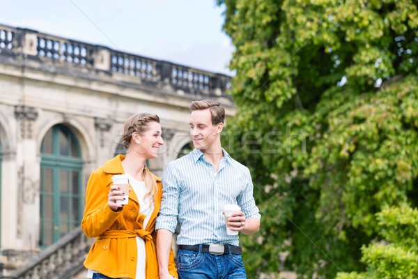 Couple in Dresden at Zwinger with coffee Stock photo © Kzenon