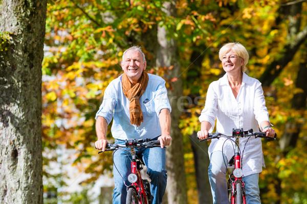 Seniors on bicycles having tour in park Stock photo © Kzenon