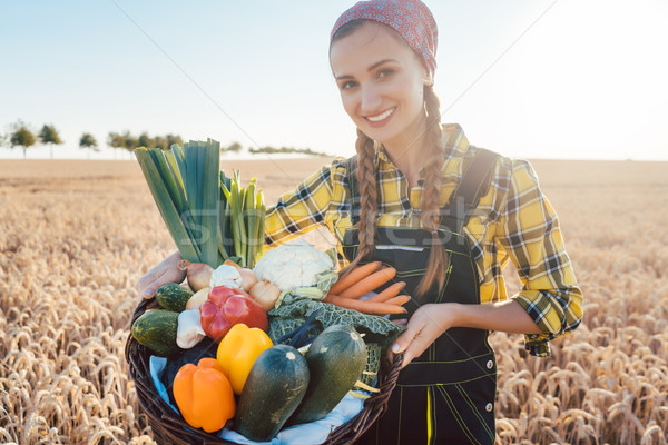 Harvest time in the country, woman farmer offering vegetables Stock photo © Kzenon