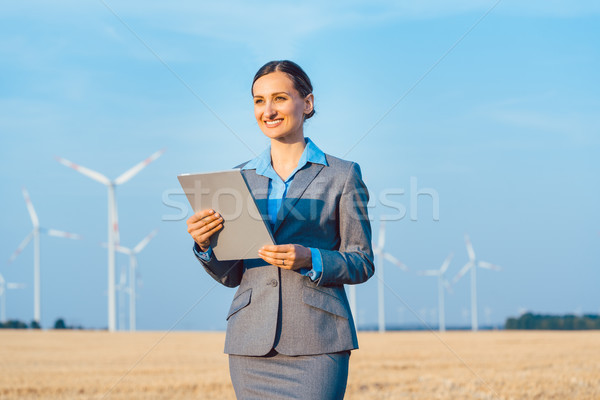 Investor in wind turbines with computer evaluating her investment Stock photo © Kzenon