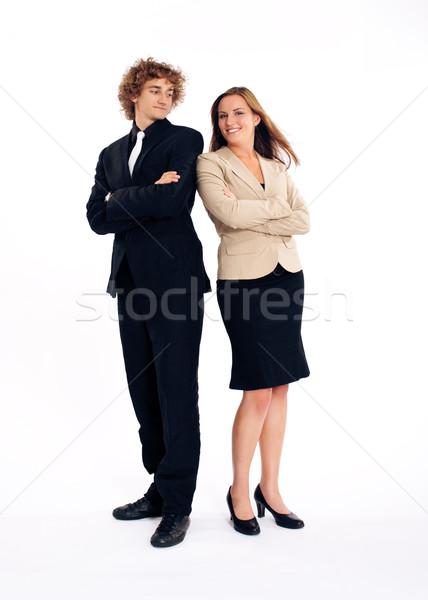 деловые люди Постоянный глядя женщину пару сеть Сток-фото © Kzenon