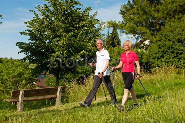 Mutlu olgun yürüyüş yaz Stok fotoğraf © Kzenon