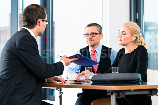 Business - Job Interview with candidate and HR Stock photo © Kzenon