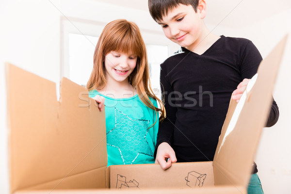 Children unpacking boxes in new home Stock photo © Kzenon
