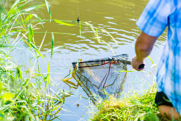 Sport fisherman getting his catch out of the water with dip Stock photo © Kzenon