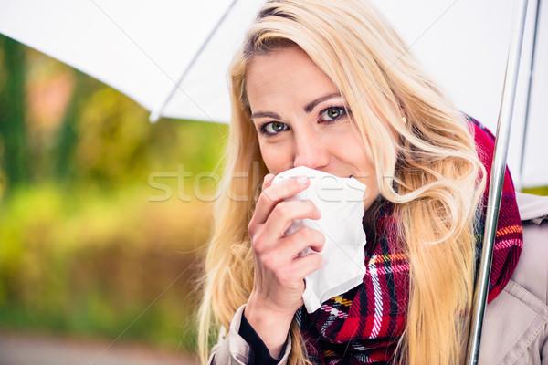 Nő hideg influenza rossz ősz időjárás Stock fotó © Kzenon