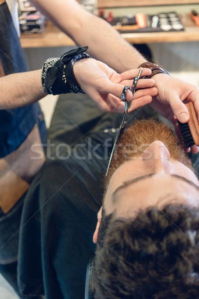クローズアップ 手 理髪 はさみ 熟練した あごひげ ストックフォト © Kzenon