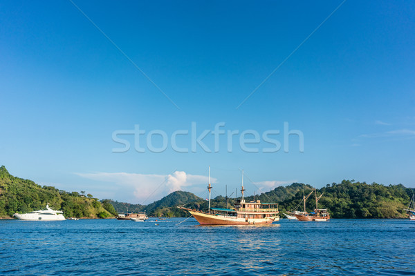 Sailing boats moored along the shore in a sunny day of summer in Indonesia Stock photo © Kzenon